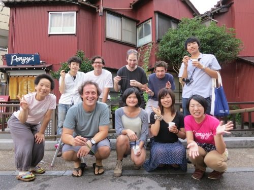 Hanging out with a few new friends in Kanazawa, Japan