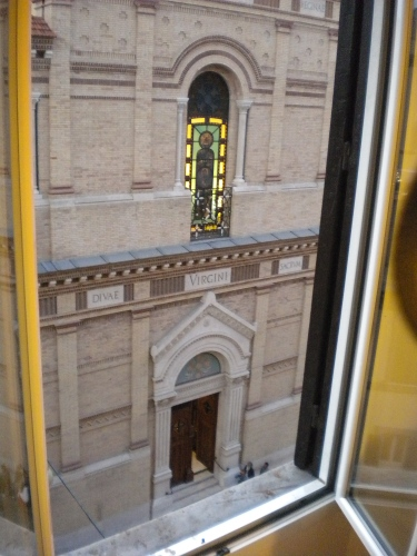 The view of the church through my window