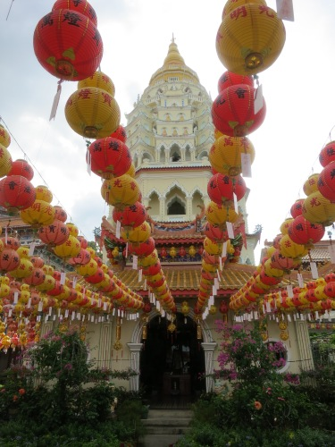 The Ban Po That (Ten Thousand Buddhas Pagoda) as seen through the New Years decorations