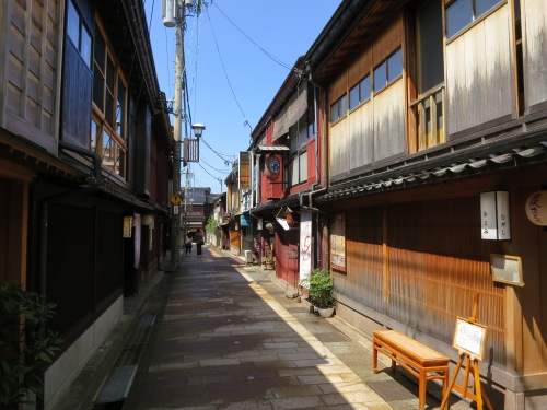 "Kanazawa also has several Geisha Districts (always labeled ""Chaya""), where the white-faced entertainers would make their homes.  Seen here is the Higashi Chaya District"