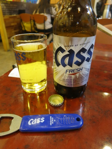 The local beer of choice is a relatively bland lager known as Cass...now I see why they drink so much Soju