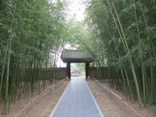 A bamboo-laden walkway inside the Gyeonggijeon Temple