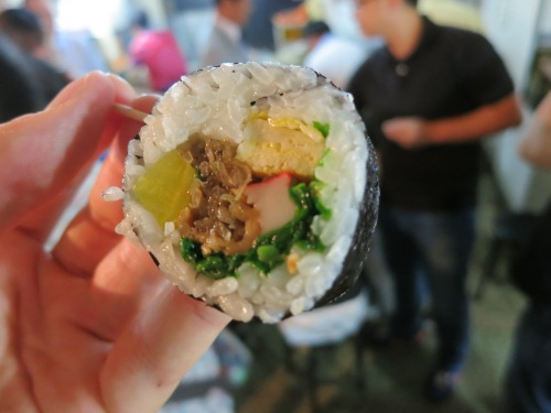 Gimbap - taking a cue from the sushi of neighboring Japan, this is essentially an overstuffed maki roll