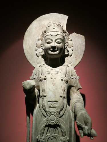 A Bodishattva statue dating to around a few hundred years BC on display in the Poly-Art Museum