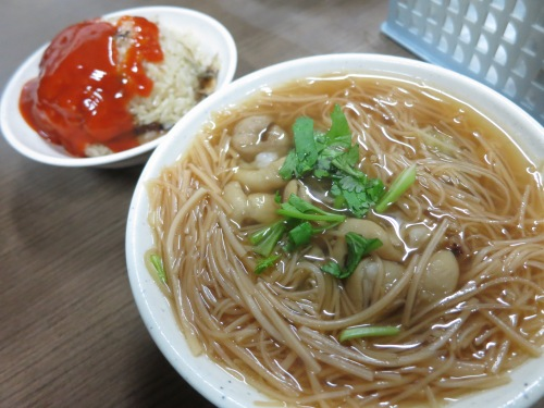 Oyster Vermicelli with a side of Oil Rice (liberally coated in hot sauce, no less)