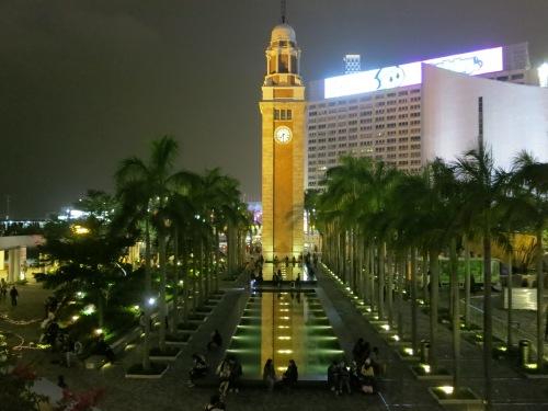 The Kowloon-Canton Railway Clocktower at night