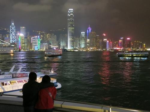 Enjoying the evening view back towards Hong Kong