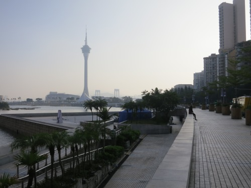 The Shoreline of the Macau peninsula, with the Macau Tower just visible in the distance