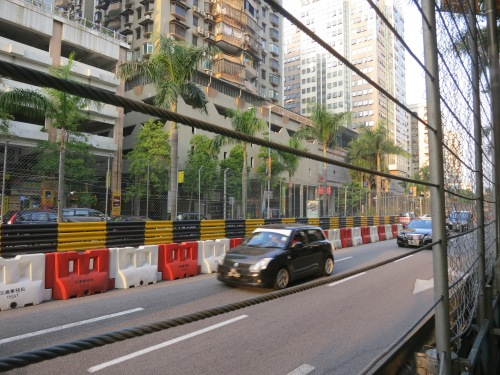 One of the biggest events of the year here is the Macau Grand Prix road race, and although I missed it by a matter of days, the streets were still sectioned off and protective fences were still left standing along the course