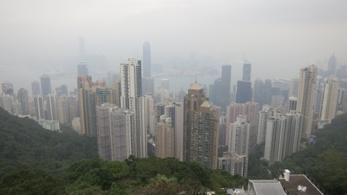 View of Hong Kong as een from Victoria Peak (and unfortunately through the rain)