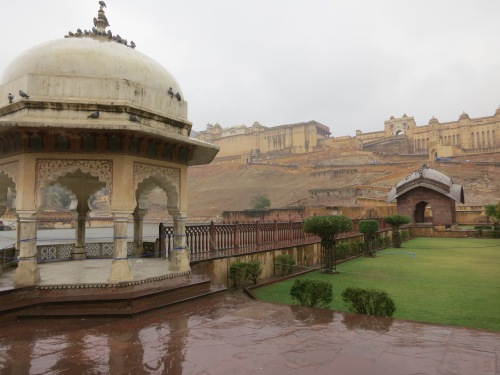 Looking over a small pavilion towards the Amber Fort