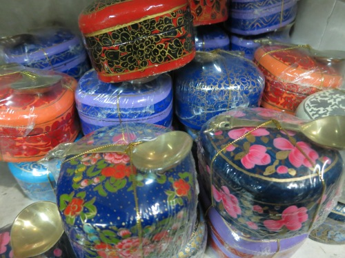 Colorful tea tins for sale in one of the many bazaars