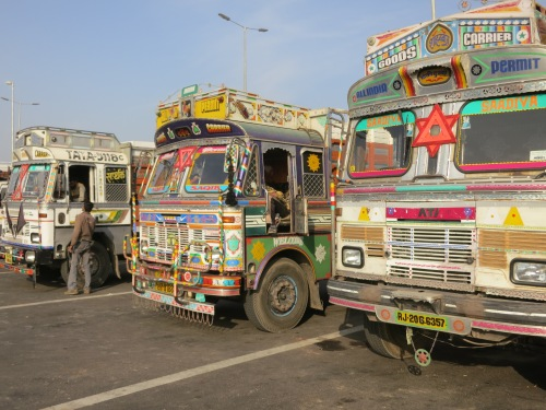 Even the freight trucks here in India are decked out in a hyperactive array of color