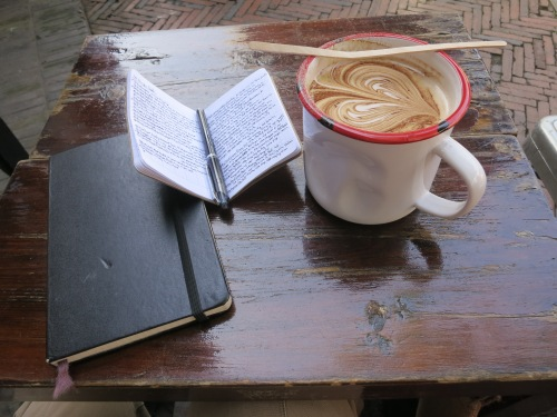A great way to wind down the day -- sitting over a cup of coffee with a small journal