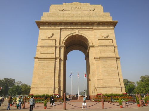 "The imposign ""India Gate,"" a monument dedicated to the 90,000 soldier's that died in three different wars around the early 1900's"
