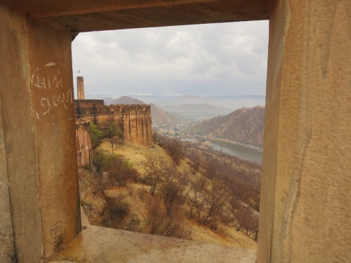 Looking out through the ramparts of the Jaigarh Fort