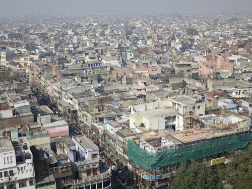 The view of the crowded streets of Old Delhi