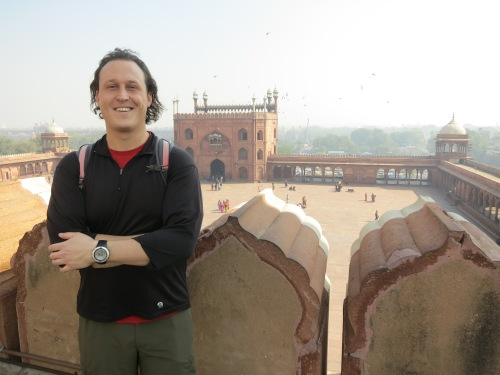 And finally, yours truly looking down upon the courtyard of the Jama Masjid