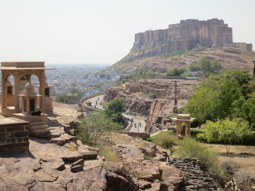 The biew back towards the Mehrangarh Fort in the distance