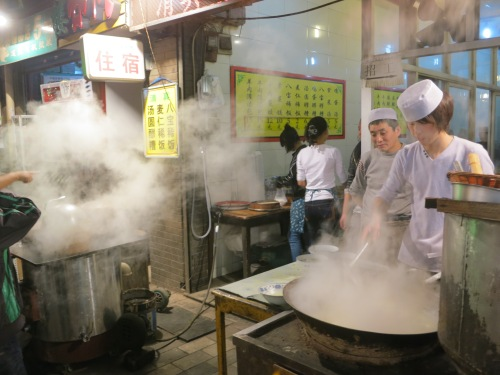 Large, steaming vats of something delicious being cooked up in the Muslim Quarter of Xi'an