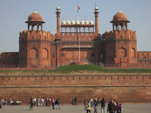 The massive walls of the Lahore Gate, the main entrance to the Red Fort