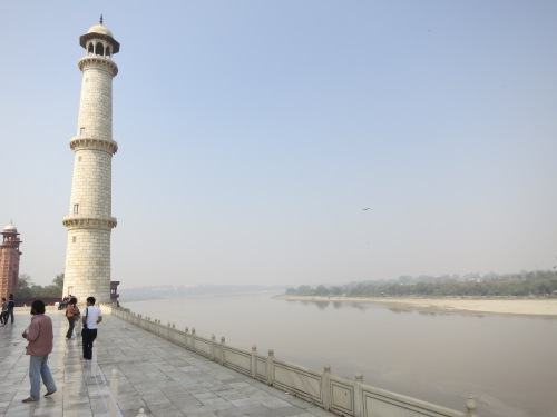 The North side of the Taj Mahal is bordered by the Yamuna River, that same river that flows through New Delhi and later meets up with the Ganges