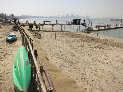 A dock jutting out from Chowpatty Beach