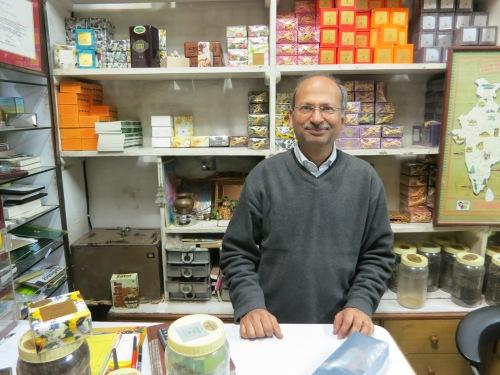 A tea vendor ready to sell his wares