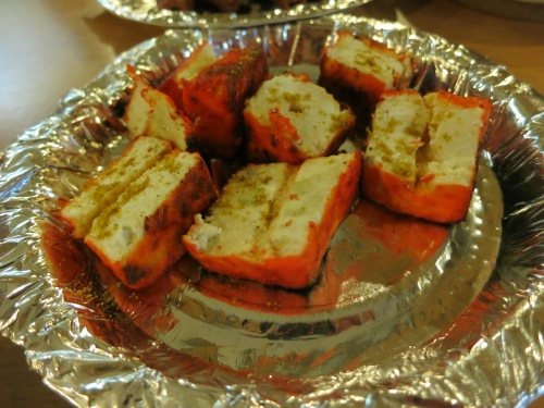 Okay, I snuck a vegetarian option in here, too, but these barbequed paneer cubes were to die for