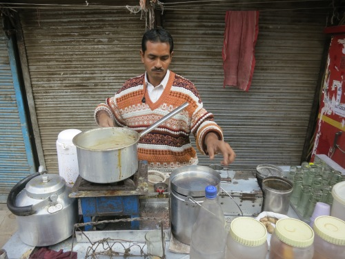 My Chai vendor in New Delhi.  It became a morning ritual for me to stop in for a glass or two -- and at the cost of only 8 rupees, or roughly 15 cents, a pop, it was easy on the wallet, too