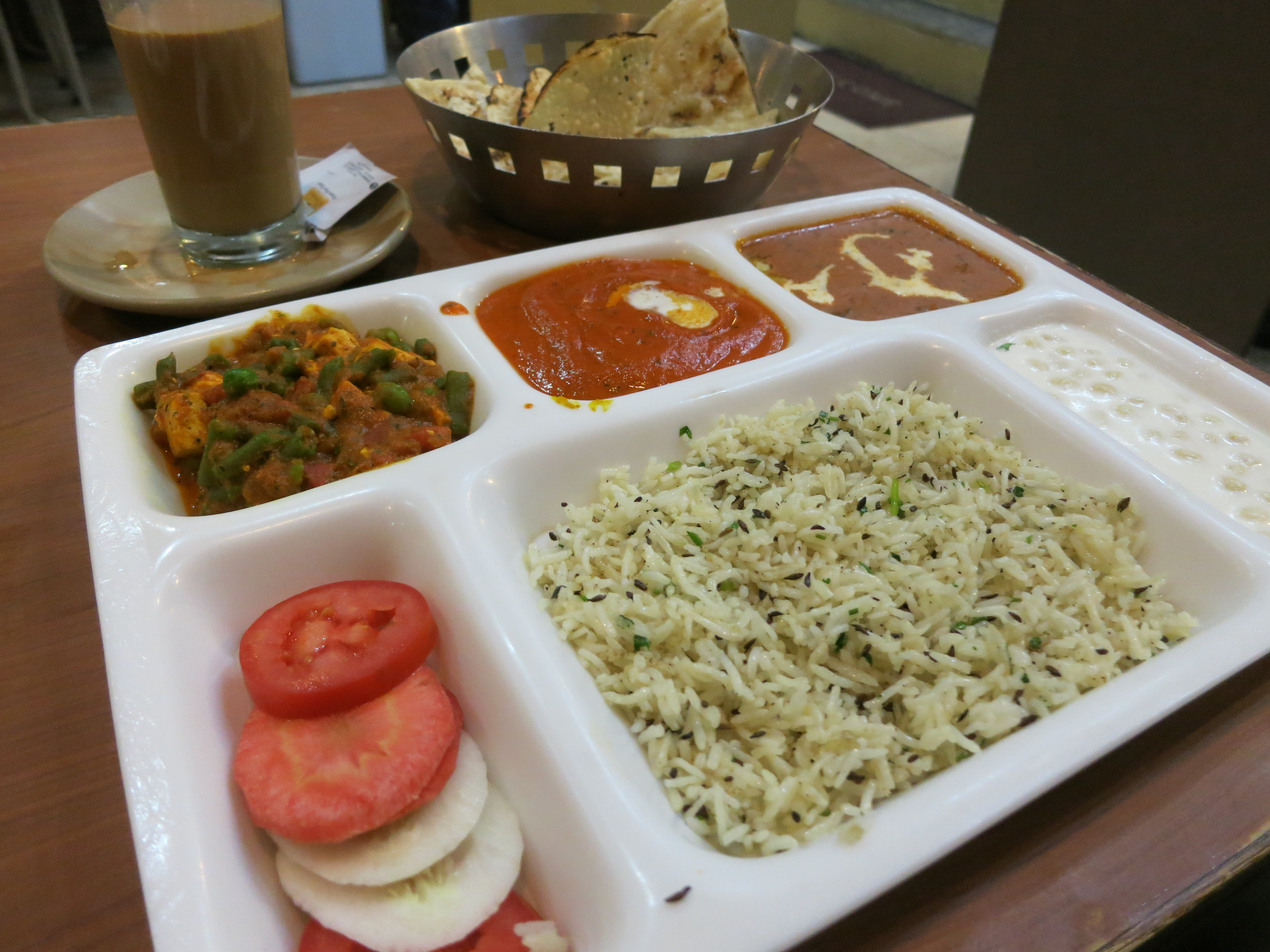 A vegetarian version of the Thali meal & Masalas Naan Thalis and Lassi : Eating In and Around Northern ...