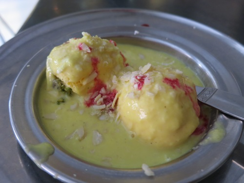 Kulfi - Indian Ice Cream, which is often served in both a melted and frozen form, as seen here