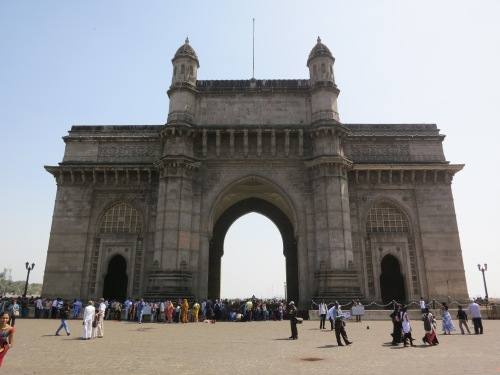 The Gateway of India, at the India, which overlooks the Mumbai Harbor near the very southern peak of the city's peninsula