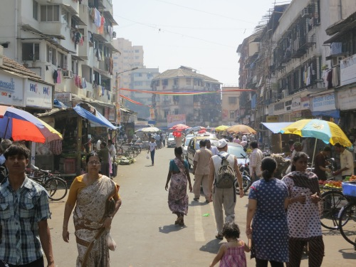 The crowded streets of the Colaba district of town