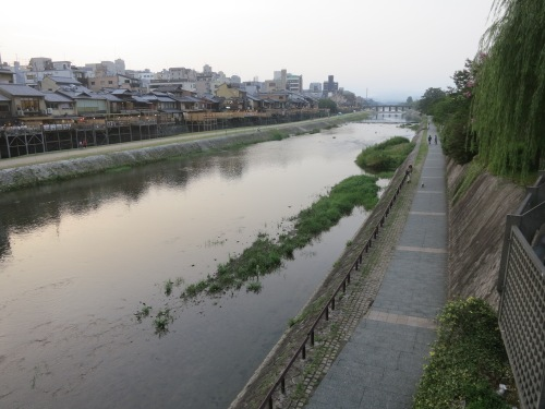 The evening light fading on the Kamogawa River
