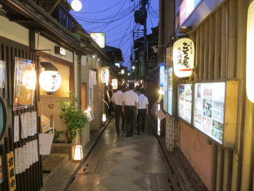 If you want to have a fun night out on the town, simply find a group of drunk salarymen and follow them -- this instance took me through the Ponto-cho neighborhood, which is packed with tiny bars and restaurants tucked into tiny alleyways