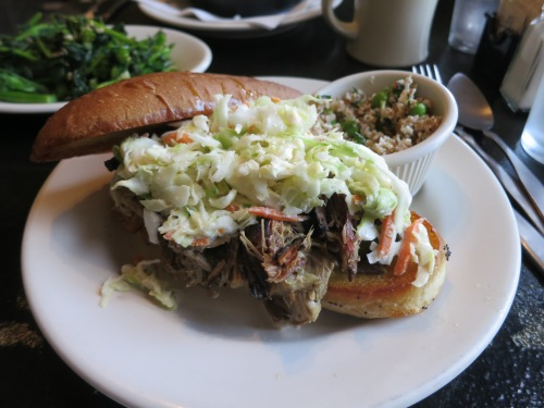 Pulled Pork Sandwich topped with Coleslaw -- an American classis that always reminds me of summertime