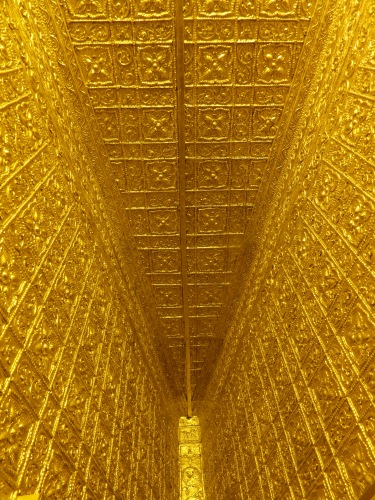 Another golden ceiling, this time as taken from the interior of the pagoda itself