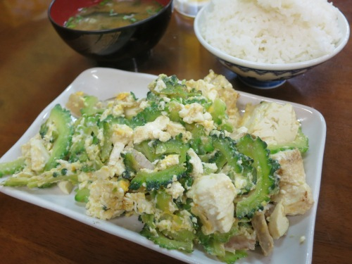 The classic Okinawan Stir-fry: Goya Champaru, which utilizes the ever-present Bitter Melon (Goya), a form of tofu unique to the islands, and a touch of pork thrown in for good measure