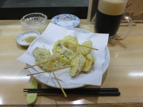 Eel, Taro (Sweet Potato), and Shrimp Tempura with a frosty beer