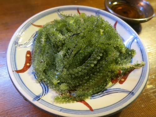 "Umi-budo, or ""Sea grapes"" are usually served raw with a ponzu dipping sauce (although they do occasionally find their way into a few sushi preparations, too)"