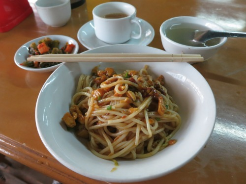 Mee Shay -- a Tea House classic, cold noodles served with pickled tofu and pork