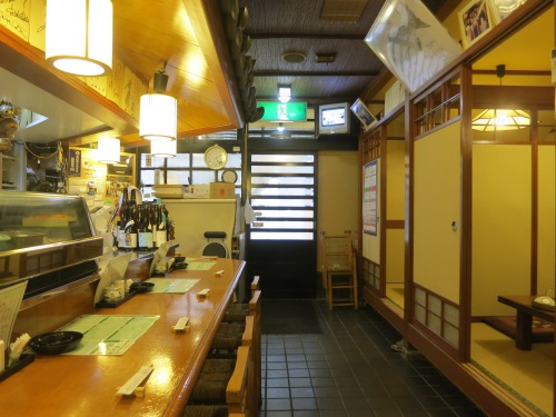 The interior of Shinbe, a recommended Sashimi restaurant