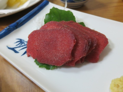 Sashimi of deer meat (or venison)