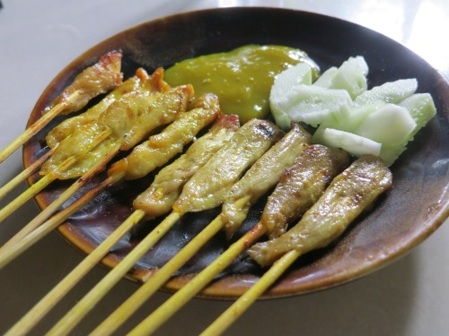 Indonesia isn't too far away, meaning their penchant for satay has made the jump across the water.  As opposed to the spicy peanut sauce of the original, however, the Burmese opt for a tangy, mustard-like concotion