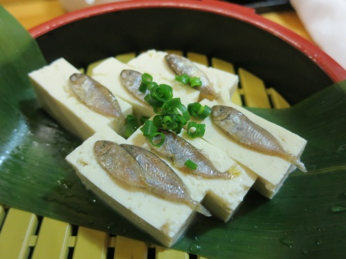 Sukugarasu – tiny salted and preserved fish served atop bits of tofu