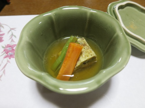 A stewed dish of vegetables in a hearty broth