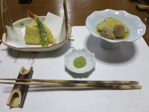 Tempura Vegetables with Green Tea Salt (on the left) and a cold dish of lightly cooked fish with apples (on the right)