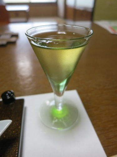 Served with a glass of Ume-shu, a sweet wine made from a local plum-like fruit called an Ume