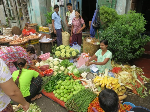 Vendors selling their fruits and vegetables